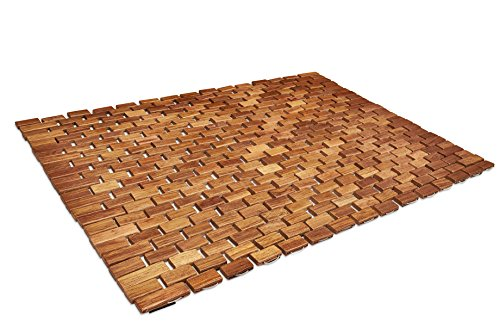 Soothing Styles Handcrafted Folding Teak Bath Mat With Non